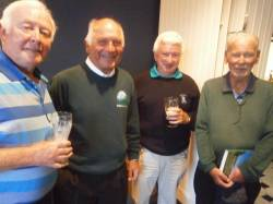 Brendan Black of Ballycastle Golf Club joins Cushendall Past Captains Tom Naughton, Niall Wheeler and Colm Thompson
