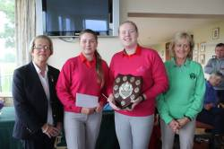 WINNERS -  Naomi Foster & Amy Kelly - Massereene with Lady Captain Eveleen & Fiona Delargy ILGU
