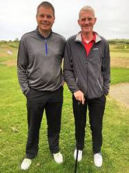Joe O'Neill and Sean McCloskey at golf day in Ballycastle Golf Club in aid of the Northern Ireland Hospice 24th May 2019