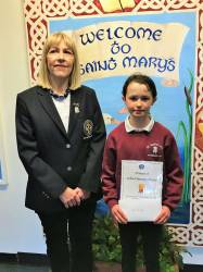 Aimee McAuley - St. Mary's PS Cushendall with Lady Captain Derval