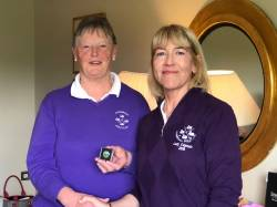 Anne Stewart presented a marker for her recent hole in one @  Cushendall