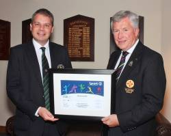 Cushendall Golf Club Captain Joe O'Neill with John White President - Elect GUI 2020
