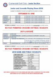 Junior & Juveniles Playing Times 2018