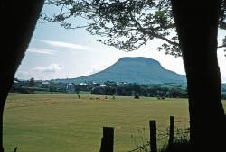 Donald Campbells photo from 1958 of Cushendall. Haystacks on golf course.