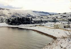 Snow at Cushendall Golf Club Beach