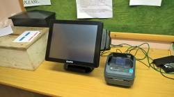 Men's touch screen terminal for competition entry and scorecard label printer