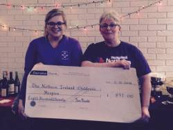 Ciara Campbell presents Catherine O'Hara, Regional fundraiser for NI Children's Hospice with a cheque for £875 on behalf of her granny Lady President Rosie Campbell. A staggering amount raised at our recent Lady Presidents Day. Well done to all.