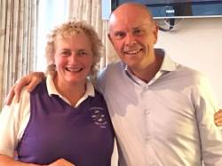 August Open Day - Our sponsor Eamon Gillan presents prize to Una Rowan for winning the front nine. Well done Una.!!!