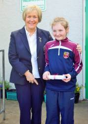 Glenann Primary School 2018 Bursary Winner Ellen Grant with Lady Captain Eveleen McCurry