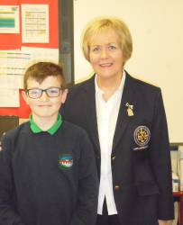 St. Ciaran's Primary School 2018 Bursary Winner Calum Magee with Lady Captain Eveleen McCurry