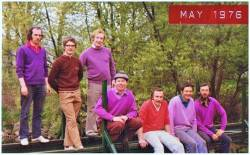 Bridge at back of 8th Green. Brian Thompson, Brendan Mitchell, Dan Dempsey, Seamus McKillop, John Gore, Fergus McNaughton, Vincent Agnew.